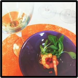 Crevettes et vin